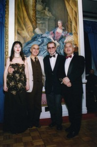 Ella & Alexander with famous Russian entertainers A. Arkanov and L. Oganesov, Plaza Hotel, New York, 2002