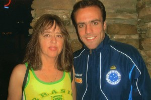 Ella with the world renown Brazilian soccer player Roger at the welcoming party for Cruzeiro, Boston, 2010