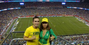 Cheering for Brazil! Brazil vs. Portugal soccer match, 2013