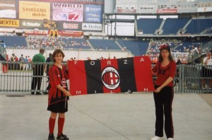 Ella with her son cheering for the AC Milan soccer team, 2005